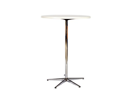 Table, white, laminate, diameter: 80 cm H: 110 cm