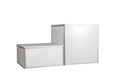 Platform, alu profile w/ white side and top plates, H: 104 W: 100 D: 100 cm