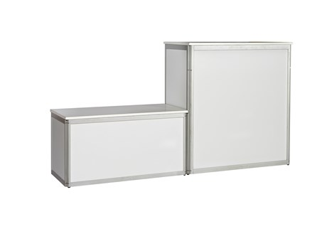 Platform, alu profile w/ white side and top plates, H: 104 W: 100 D: 50 cm